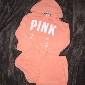 Victoria Secret PINK Cropped Hoodie and Shorts Set